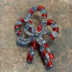 Monet signed candy cane cz brooch pin red silver